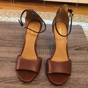 Coach brown leather heeled sandal